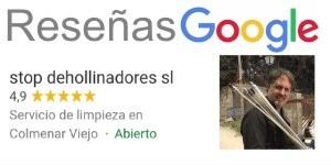 reseñas stop deshollinadores en Google