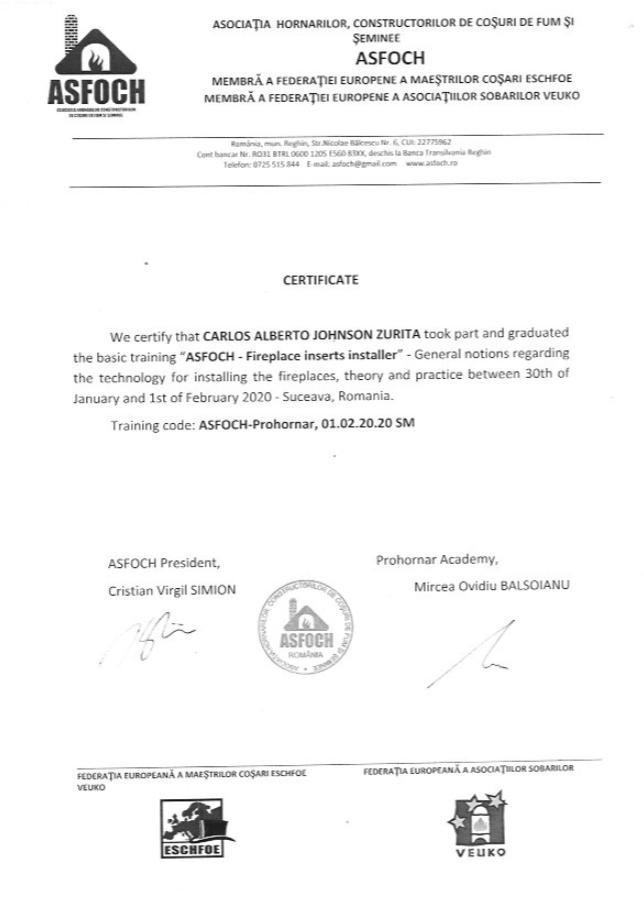 Instalaciones de chimeneas de leña certificado